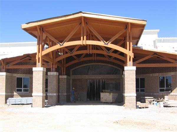 Main  Entrance Canopy - - platform at bottom right for school bell